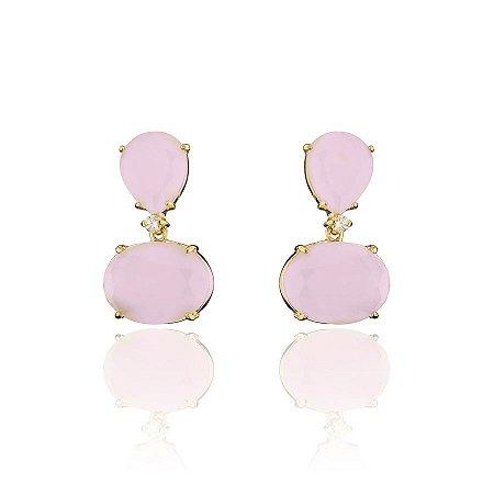 Brinco Pedras Gota e Oval Rosa Banhado a Ouro Zirconia