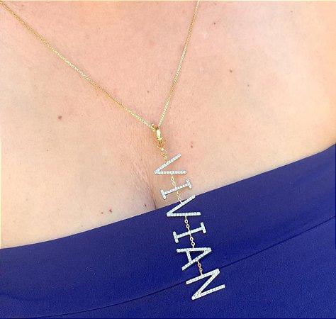 Pingente Nome Personalizado 7 Letras Cravejadas Banhado Ouro