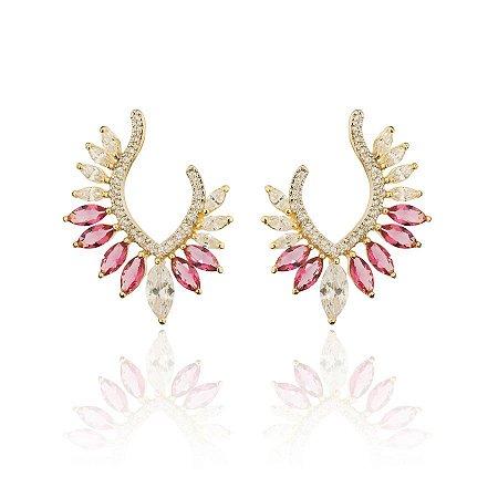Brinco Navete Pink Moderno de Festa Luxo Banhado a Ouro