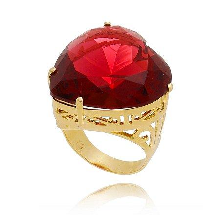 Anel de Coração Pedra Grande Rubenita Pink Banhado a Ouro