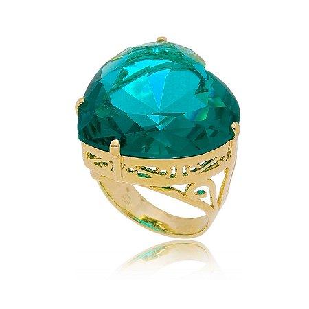 Anel de Coração Pedra Grande Turmalina Banhado a Ouro