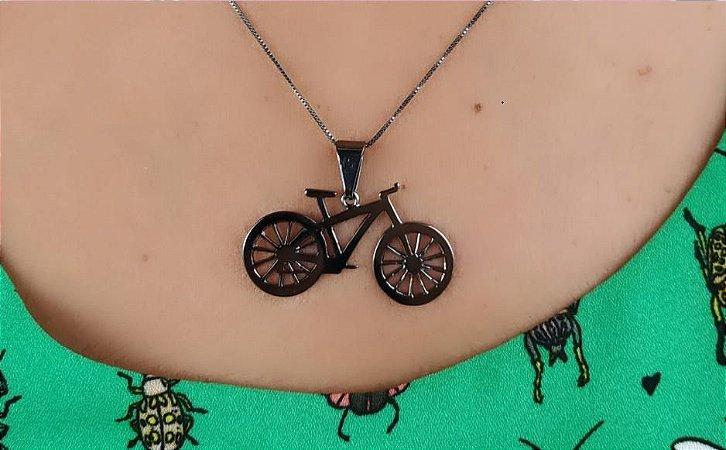 Colar de Bicicleta Pingente de Bike Banhado Em Ródio Negro