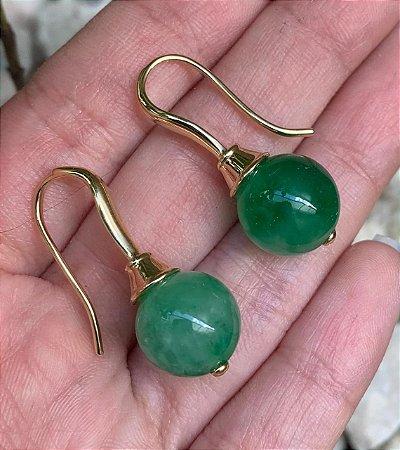 Brinco Gancho Jade Verde Banhado A Ouro Alta Qualidade