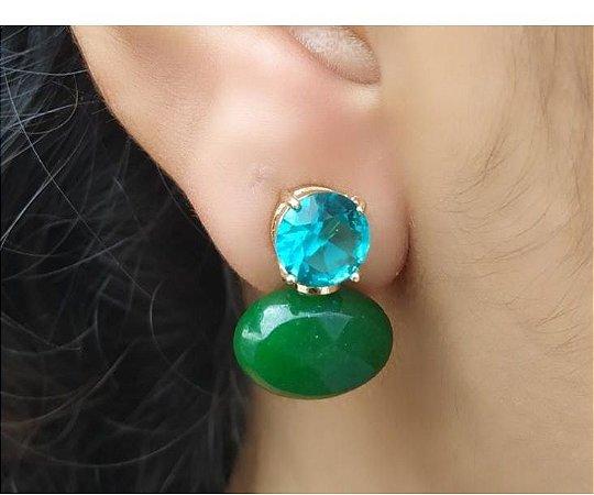 Brinco Turmalina e Verde Esmeralda Banhado Ouro Delicado