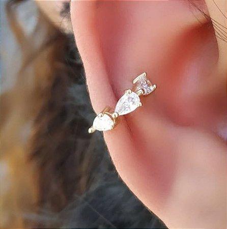 Piercing Fake Cartilagem Zirconia Gota Branca  Banhado Ouro