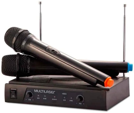 Microfone Multilaser s/Fio Alcance 8M + Receiver SP328 (PAR)