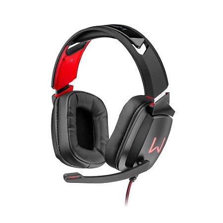Headset Gamer RGB Warrior Kadem PH301 preto/vermelho