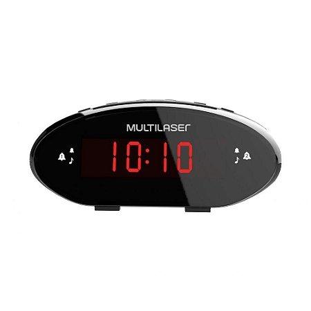 Rádio Relógio Multilaser Digital 3w Rms Fm Preto Sp352