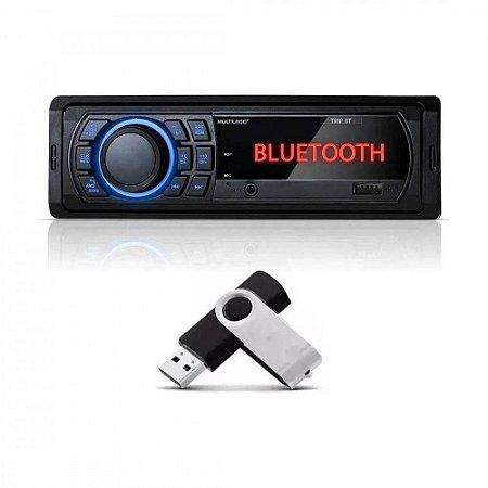 Som Automotivo Multilaser Trip P3350 Com Usb E Bluetooth + PEN DRIVE 4gb incluso