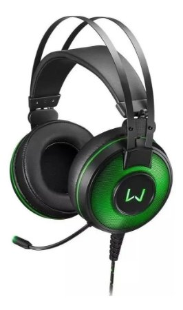 Headset Preto Warrior C/ Som De 7.1 E Led Na Cor Verde Ph259