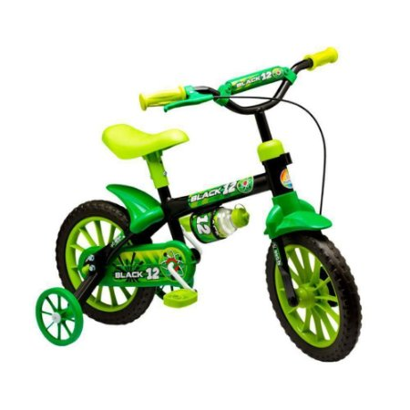 BICICLETA 12 MASC BLACK PTO/VERDE LION BIKE