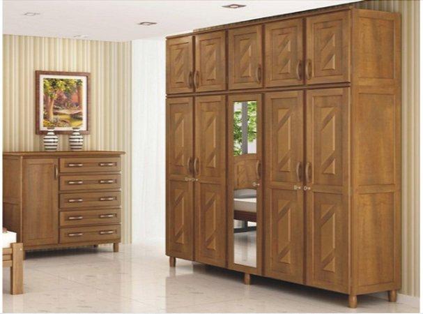 9290195f1 Guarda-Roupas Casal 10 Portas - Com Espelho e pés inclusos, 100% madeira