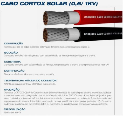 Cabo Solar CORTOX 1KV 4mm² Preto