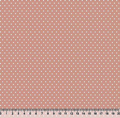 Tecido Tricoline Poá Pequeno Rosa Seco 1380-PFT-S296