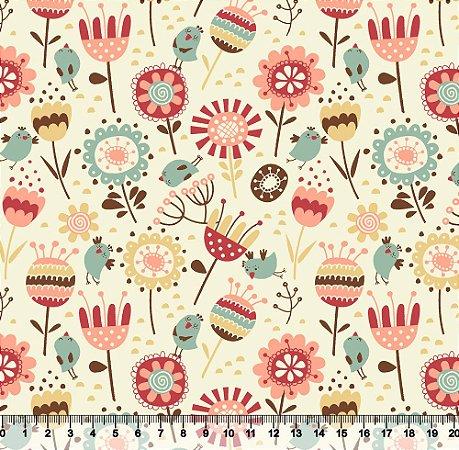 Tecido Tricoline Flores No Jardim Bege 3963-02