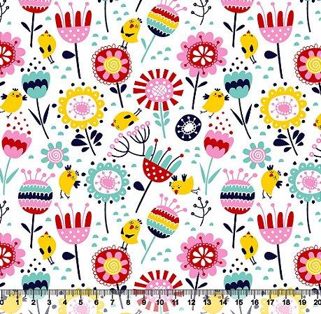 Tecido Tricoline Flores No Jardim Branco 3963-01