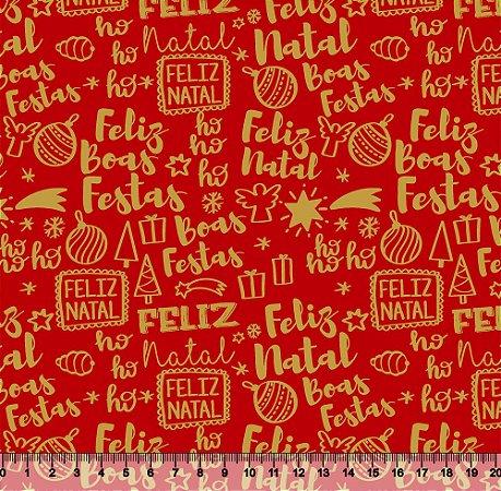 Tecido Tricoline Feliz Natal Vermelho V89-4022-02 - Natal