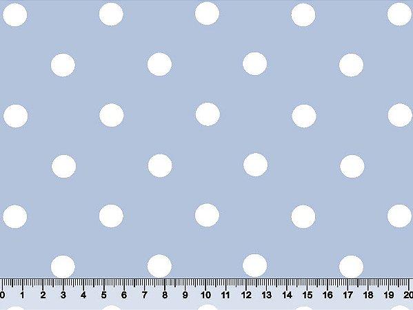 Tecido Adesivado Poá 2 Bol Branco e Fundo Azul Bebê V499-2Bol-03 -- 0,50 m x 1,00 m