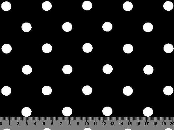 Tecido Adesivado Poá 2 Bol Branco e Fundo Preto V499-2Bol-07 -- 0,50 m x 1,50 m