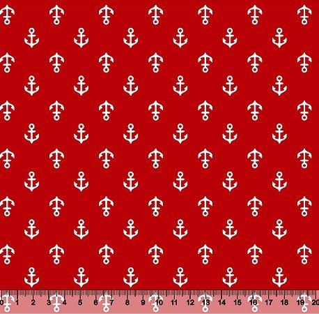 Tecido Adesivado Âncora Fundo Vermelho V853-5186-01 -- 0,15 m x 1,00 m