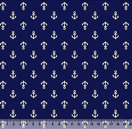 Tecido Adesivado Âncora Fundo Marinho V853-5186-02 -- 0,15 m x 1,00 m