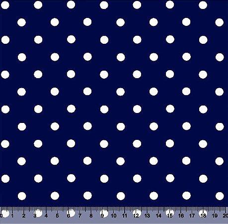 Tecido Adesivado Poá 2 Bol Branco e Fundo Azul Marinho V853-2Bol-07 -- 0,15 m x 1,00 m