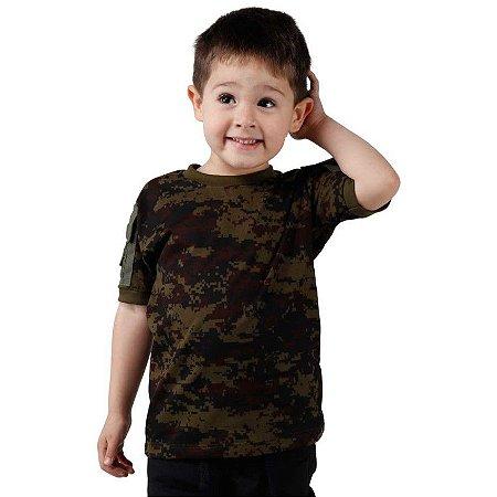 Camiseta Infantil Ranger Kids Camuflada Digital Argila Bélica