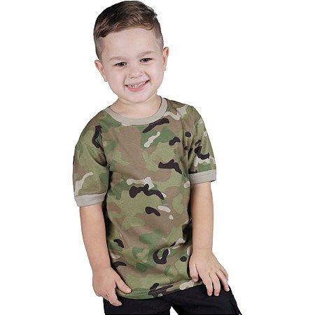 Camiseta Infantil Soldier Kids Camuflada Multicam Bélica