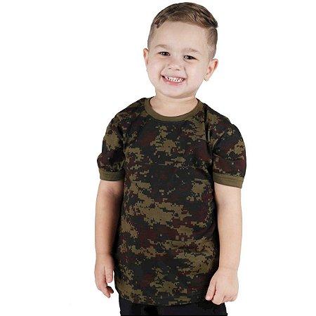 Camiseta Infantil Soldier Kids Camuflada Digital Argila Bélica