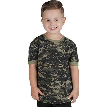 Camiseta Infantil Soldier Kids Camuflada Digital Pântano Bélica