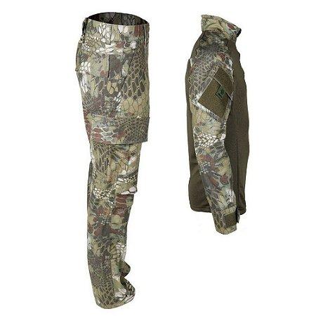Farda Tática Bélica - Calça e Combat Shirt Camuflada Mandrake