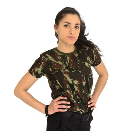 Camiseta Baby Look Camuflada Exército Brasileiro (EB)