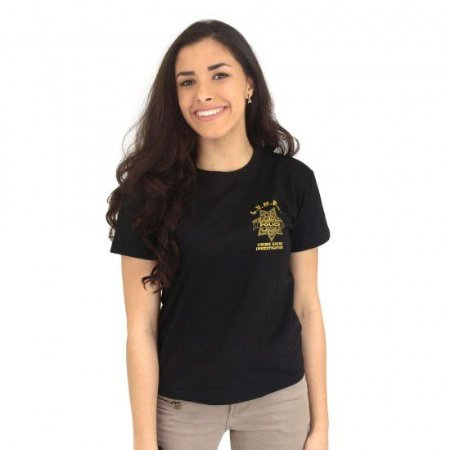 Camiseta Feminina Militar Baby Look Estampada CSI Preta - Atack