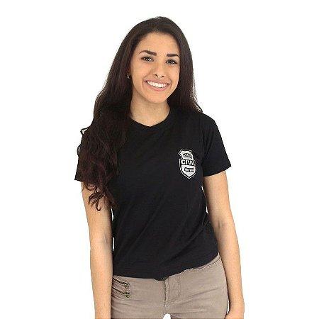 Camiseta Feminina Militar Baby Look Estampada Estado Civil Solteira Preta - Atack