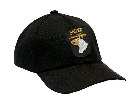 Boné Militar Rip Stop Com Patch Aplicado Sniper Airborne  Preta - Atack
