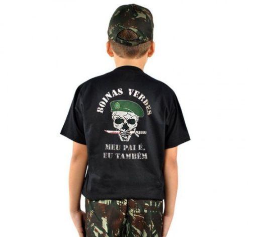 Camiseta Infantil Estampada Boinas Verdes
