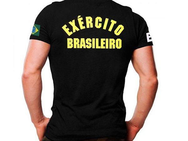 Camiseta Militar Estampada Exército Brasileiro Preta - Atack