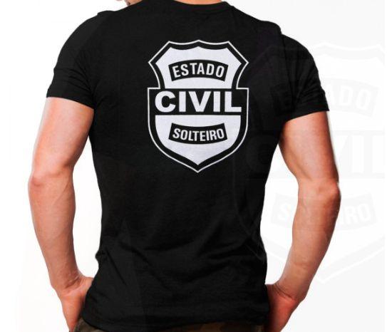 Camiseta Militar Estampada Estado Civil Solteiro Preta - Atack