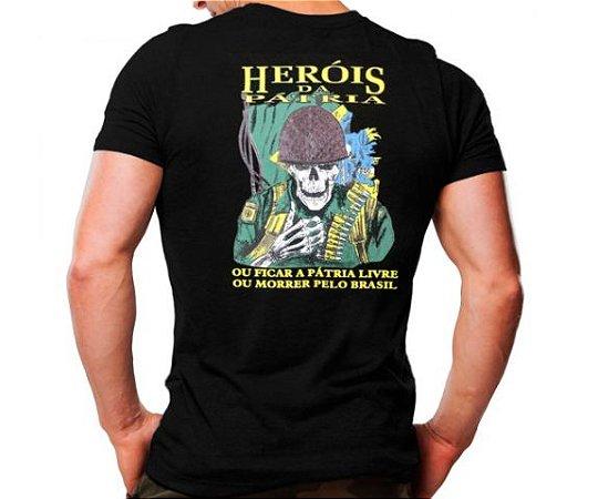 Camiseta Militar Estampada Heróis Da Pátria Preta - Atack