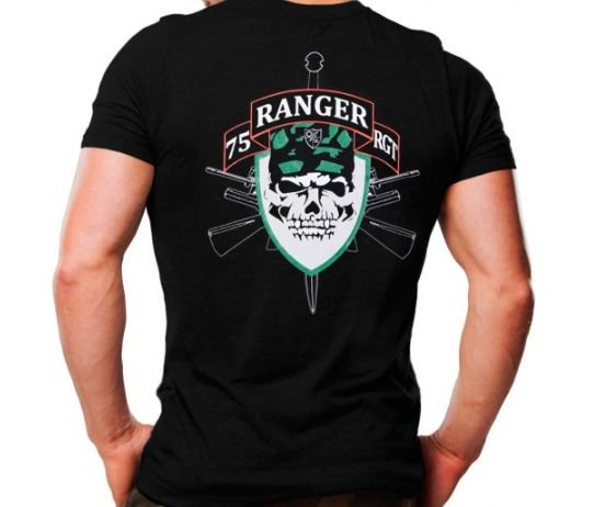 Camiseta Militar Estampada Ranger Preta - Atack