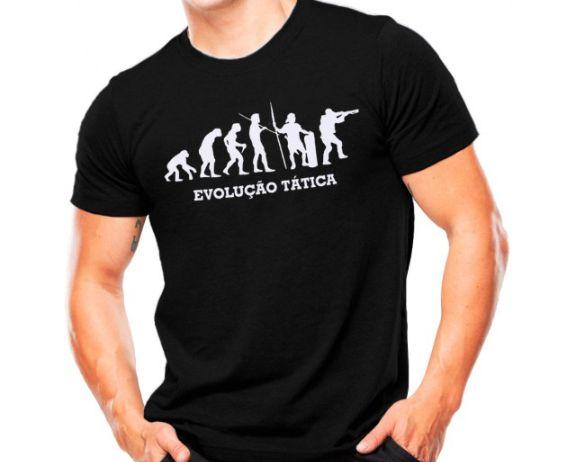 Camiseta Militar Estampada Evolução Tática Preta - Atack