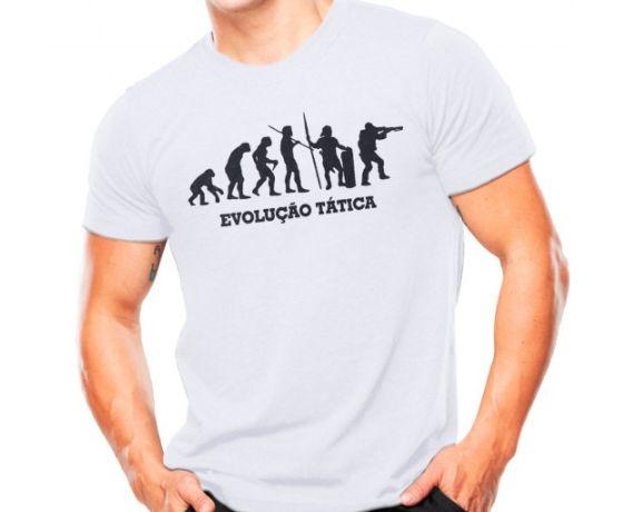 Camiseta Militar Estampada Evolução Tática Branca - Atack
