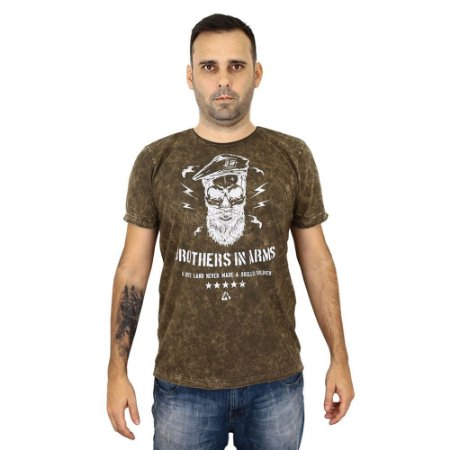 Camiseta Militar Estampada Brothers In Arms Corte Laser Estonada Coyote - Atack