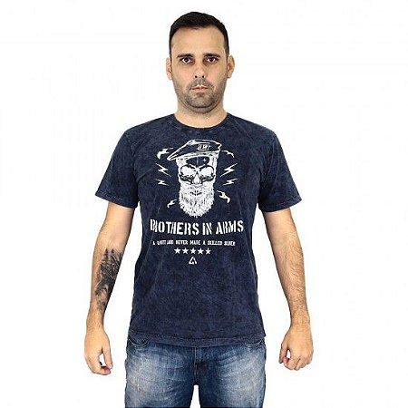 Camiseta Militar Estampada Brothers In Arms Estonada Azul - Atack