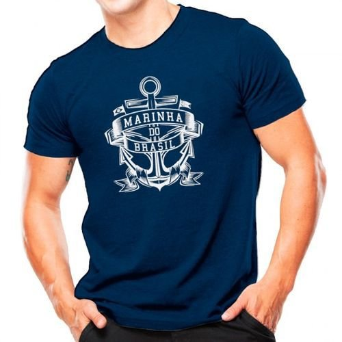 Camiseta Militar Estampada Marinha Do Brasil Azul Estampa Branca - Atack
