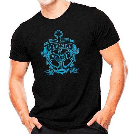 Camiseta Militar Estampada Marinha Do Brasil Preta Estampa Azul - Atack