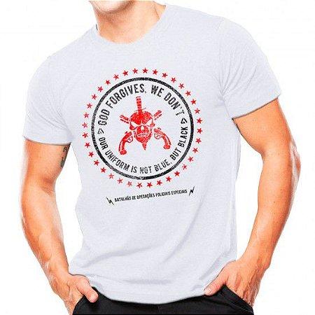 Camiseta Militar Estampada Bope Forgives Branca - Atack