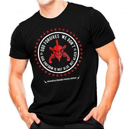 Camiseta Militar Estampada Bope Forgives Preta - Atack