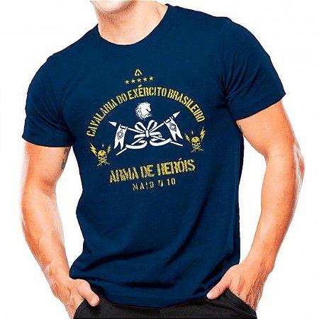 Camiseta Militar Estampada Cavalaria Do Exército Brasileiro Azul - Atack