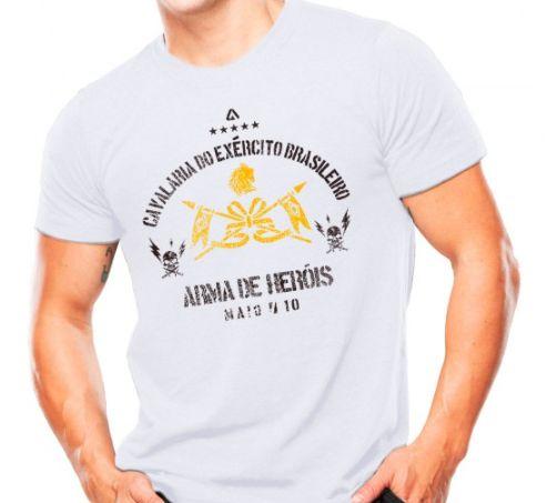 Camiseta Militar Estampada Cavalaria Do Exército Brasileiro Branca - Atack